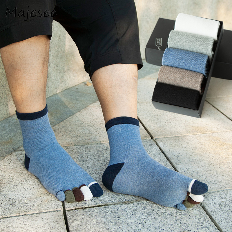 Men Five Fingers Toe Socks Cotton Patchwork Mens Funny Colorful Sock Autumn Winter Deodorant Male Casual New Healthy Care Style