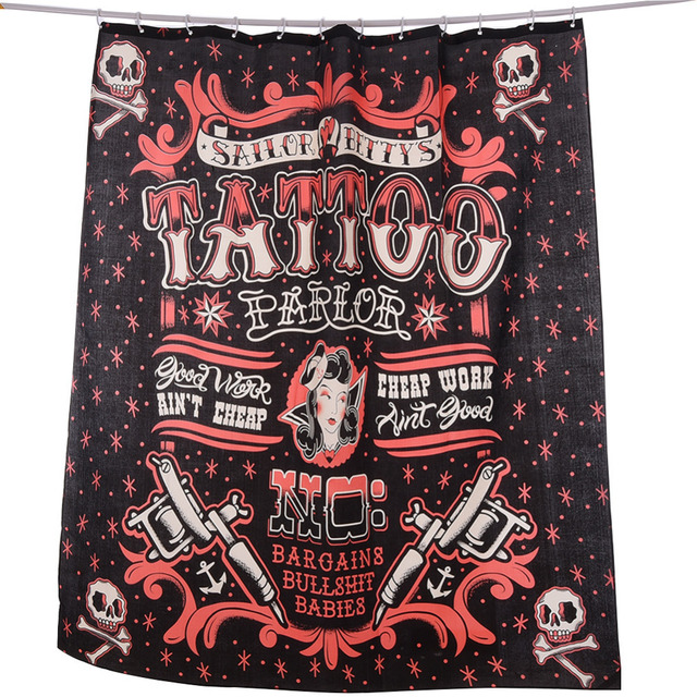 nieuwe collectie waterdichte piraat schedel tattoo scrawl badkamer gordijn 100 anti schimmel polyester douche