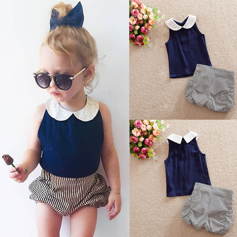 8bfafc5b0c Toddler Baby Girls Kids Clothes Sets Vest Lace Flower Doll Collar  Top+Stripe Shorts Bloomers Outfits 2PCS