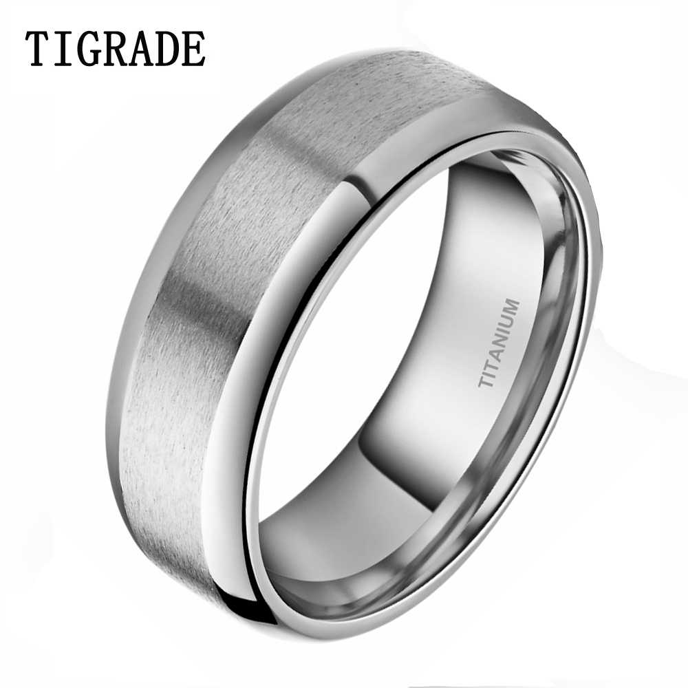 Tigrade 8mm Sølv Menns Titanium Ring Brushed Finish Wedding Band Engasjement Ringer Mann Smykker Anel feminino
