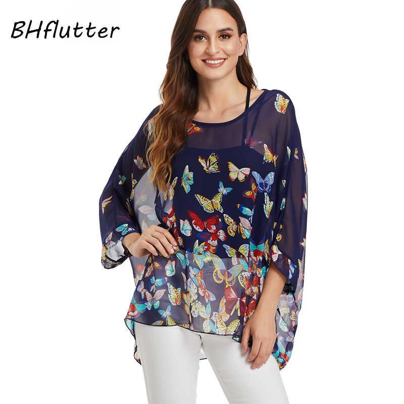 BHflutter קיץ חולצות לנשים 2019 אופנה עטלף מקרית Loose שיפון חולצות חולצה פרחוני הדפסת Boho חוף חולצה Blusas