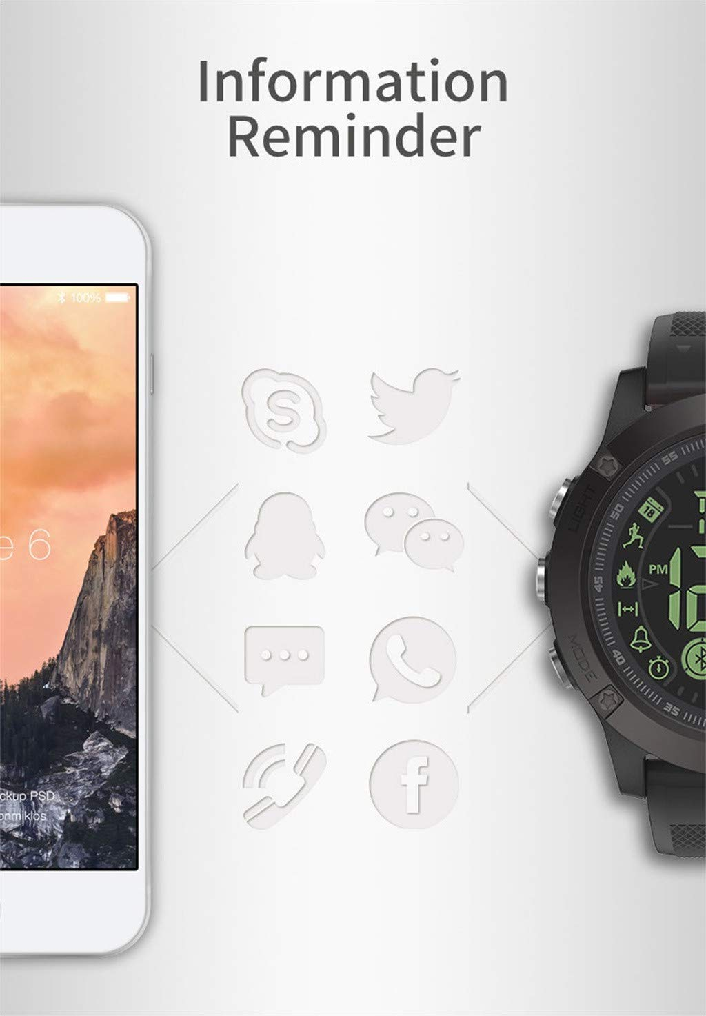 Smart Watch Waterproof Remote Camera Smartwatch Health Tracker Smart  Bracelets Pedometer Calories Counter for Android iOS