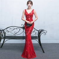 Bride Sequined Sexy Long Night Dress Red Mermaid Cheongsam Traditional Chinese Oriental Dresses Robe Orientale Wedding Clothes