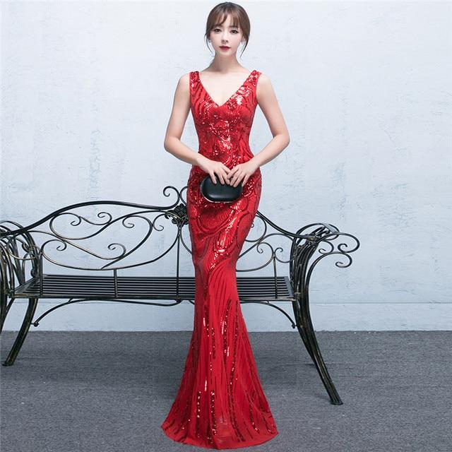 3551ad600 Lantejoulas vestido de noiva Sexy Vestido De Noite Longo Vermelho Sereia  Vestidos de Casamento Robe Orientale