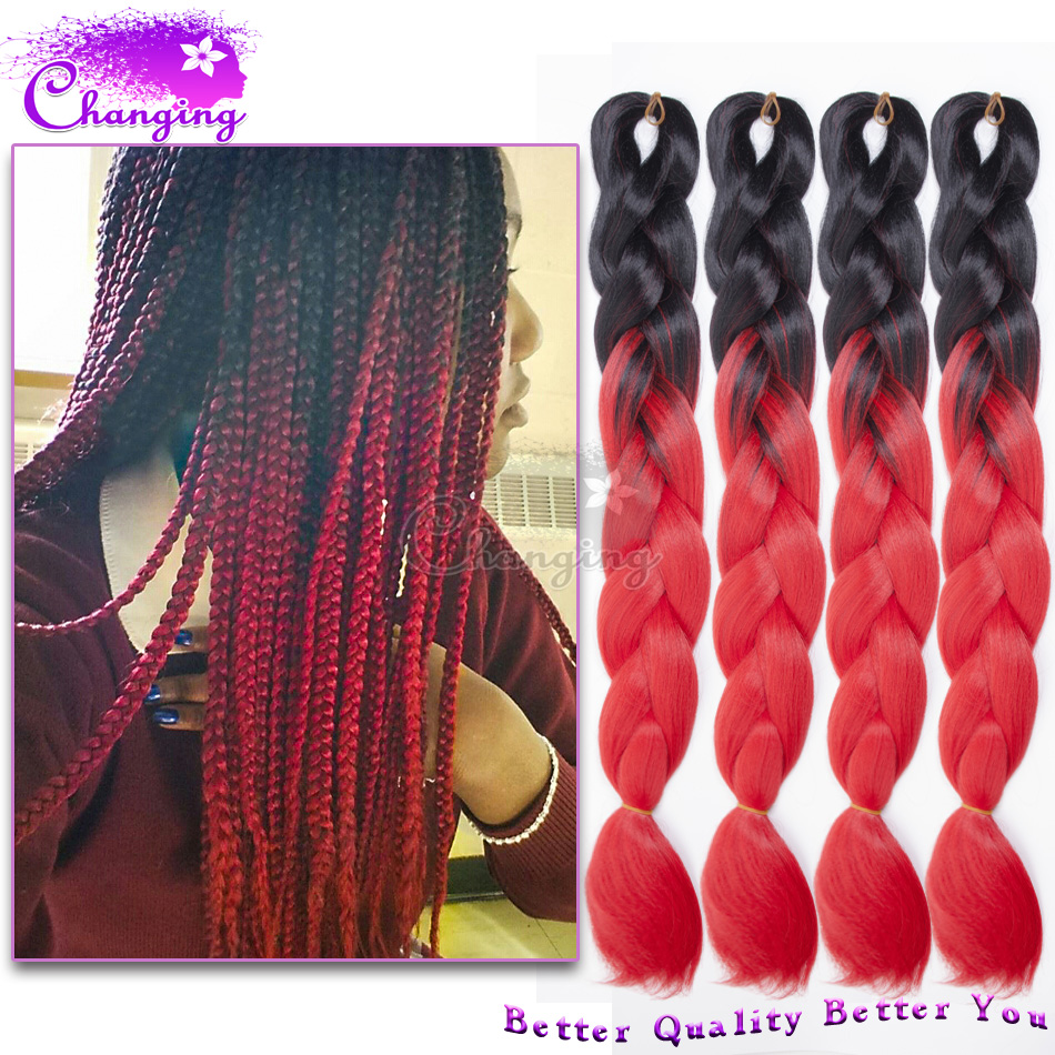 Ombre Red Jumbo Braid Hair African Synthetic Hair For