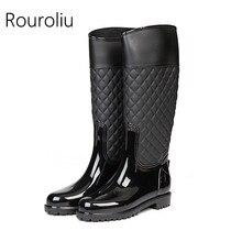 Rouroliu Femmes Mode Patchwork Bottes de Pluie à Hauteur Du Genou  Non-glissement Femelle Rainboots Imperméables Chaussures D eau. be3ce45da34e