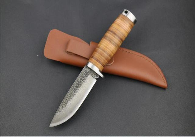 High carbon fixed Manual Knife blade wood handle black tactical hunting knife  outdoors camping survive knives & leather sheath