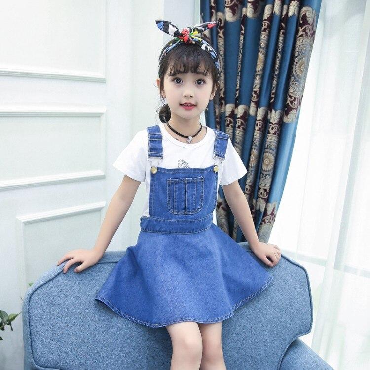 цена  summer 5-13 years old child clothes girls print t shirt + Denim suspender skirt baby sets girls clothing sets  онлайн в 2017 году