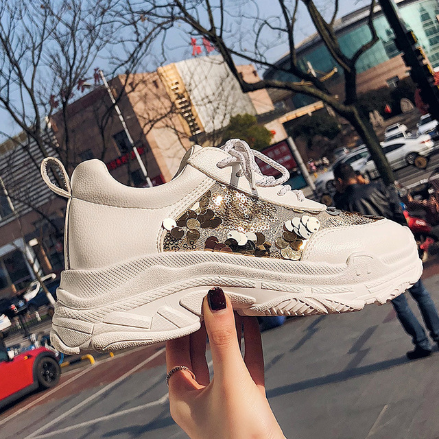 Jookrrix Casual White Shoes Women Brand Fashion Glitter Sneakers Women  Platform chaussuree Female Mesh footware Bling Breathable 5e6f9ec375ae