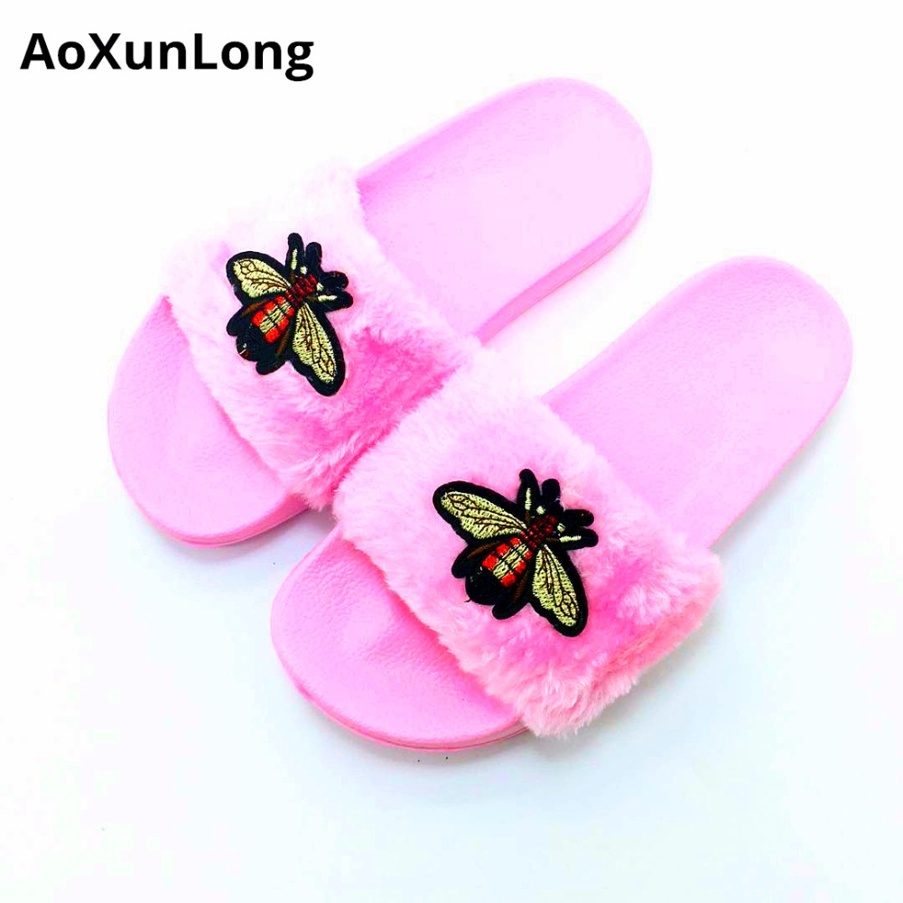 AoXunLong New Bee Slippers Womens Slides Moda Furry Red Home Slippers - Zapatos de mujer