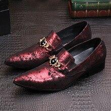 2017 Итальянские Роскошные Мужчины Обувь Цепи Натуральная Кожа Свадьба Формальные Мужчины Платье Обувь Красный Ручной Мужской Мокасины Плюс Размер