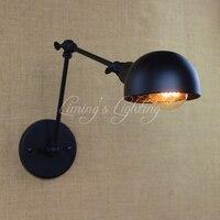 Vintage Wall Light Black E27 26 Long Arm Wall Sconce Bedroom Bar Coffee Light Adjustable Swing