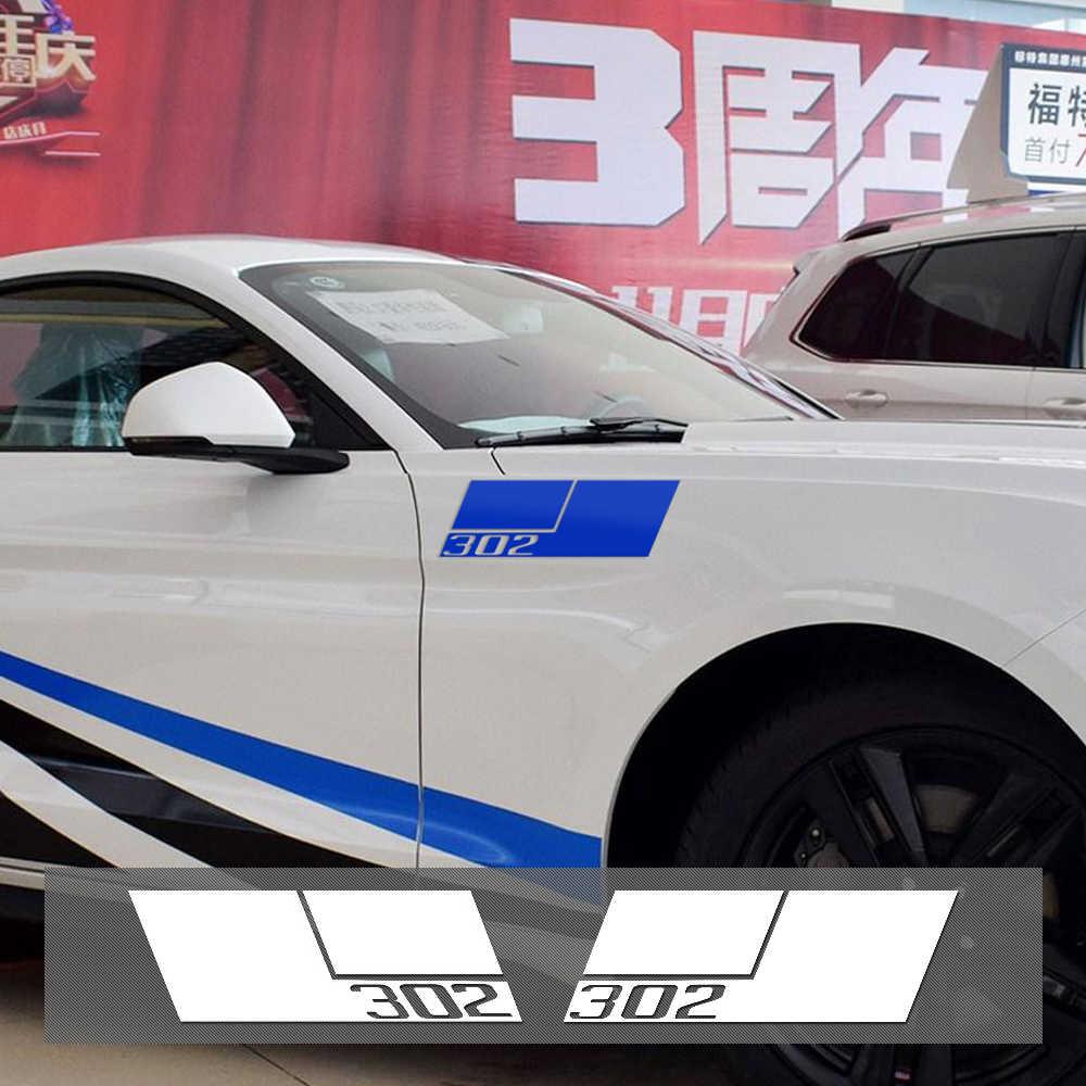 2 peças estilo do carro reflexivo vinil capa fender amortecedor lateral decalque 302 adesivos gráficos para ford mustang 2015-2017 acessórios