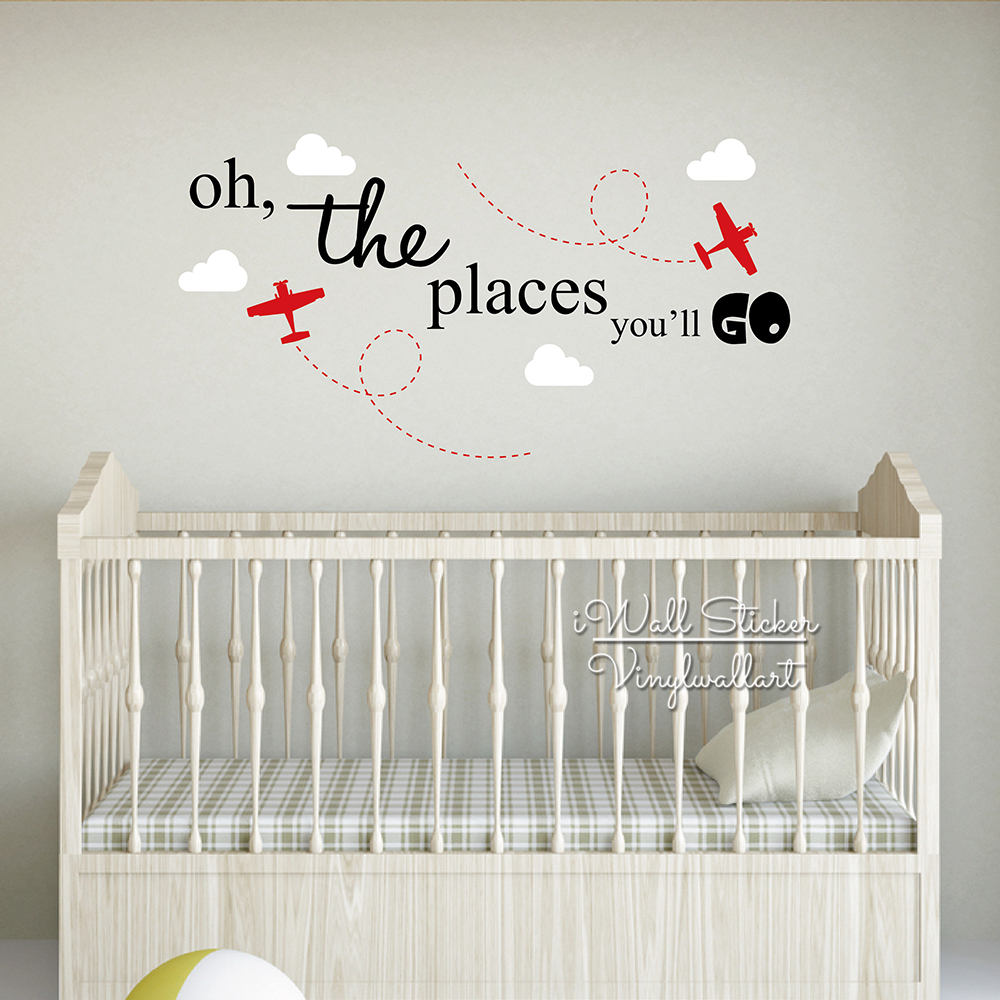 Wall Decal Quotes For Baby Nursery : The places you will go wall sticker baby nursery quotes