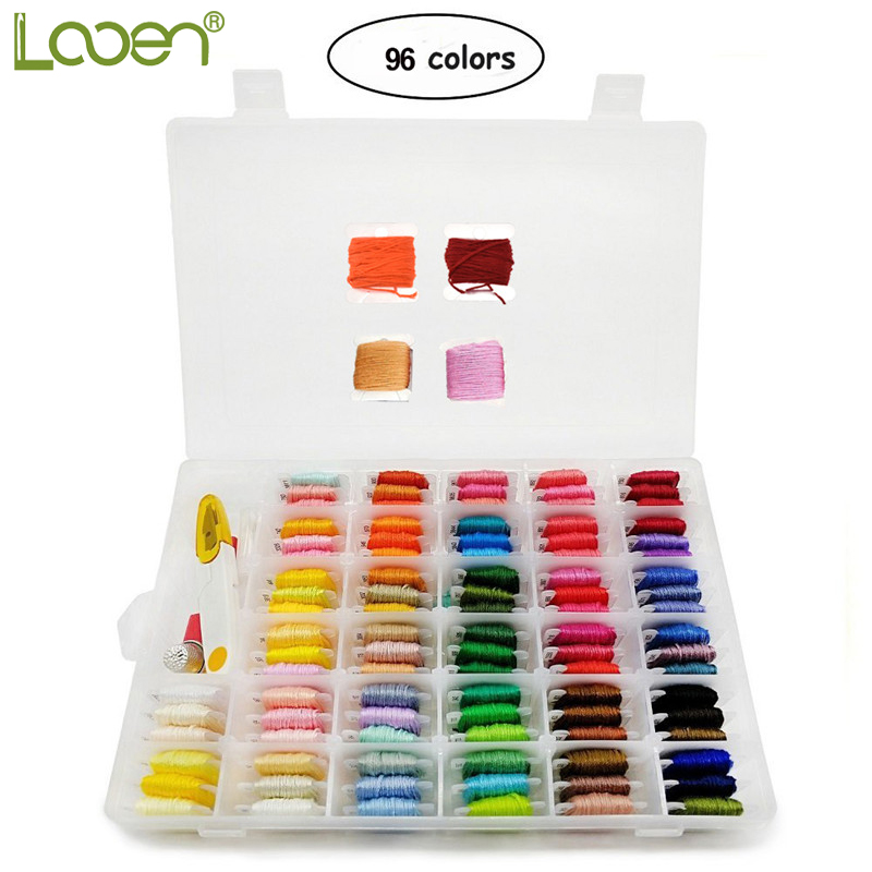 Looen 96pcs Embroidery Floss Cross Stitch Thread Kit With Threader Bobbins Sewing Needles Storage Box Embroidery Starter Kit