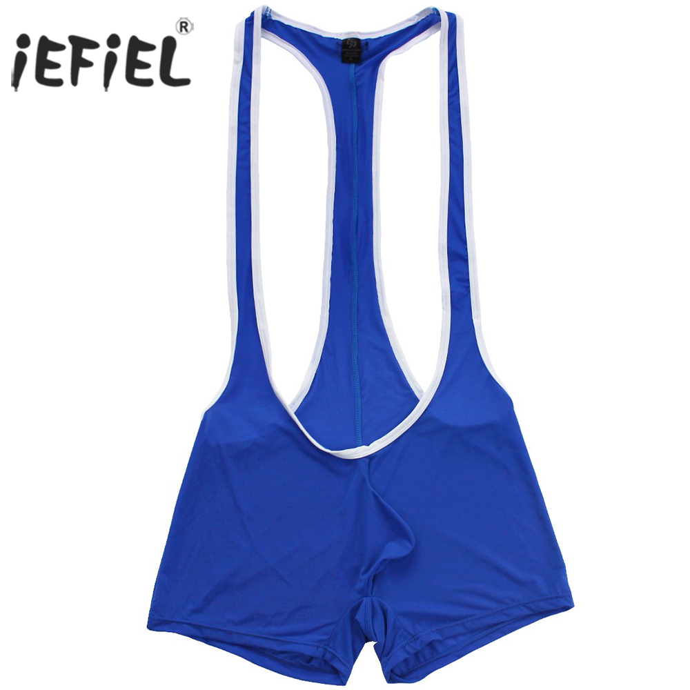 iEFiEL Sexy Mens Smooth Freestyle Wrestling Jockstrap Singlet Bodysuit Bulge Pouch T-back Boxer Shorts Underwear Bodystocking