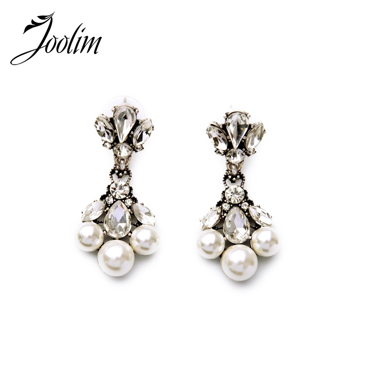 JOOLIM Jewelry Wholesale/ Pearl Earring With Clear CZ Simple Earring Party Earring Charm ...