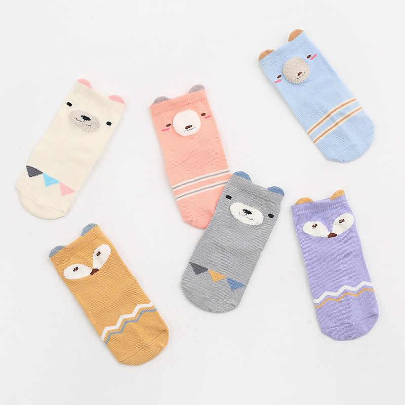 Calcetines de algodón para bebés recién nacidos, calcetines para niños, calcetines con suela de goma antideslizantes, calcetines de dibujos animados de animales, calcetines infantiles para bebés