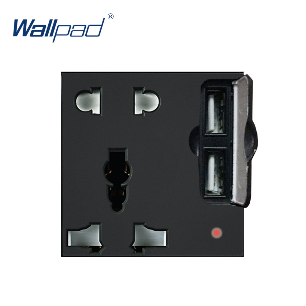 Wallpad Luxury 2 USB 5 Pin Socket Outlet Function Key For Wall White And Black Plastic Module Only