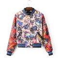 2016 new fall Ladies European and American printing Slim small padded cotton jacket fashion jacket coat jacket Tops