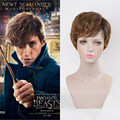 Newt Scamander Wig Short Malaysian Curly Brown Synthetic Wigs Afro Kinky Curly New Star Fantastic Beasts and Where to Find Them