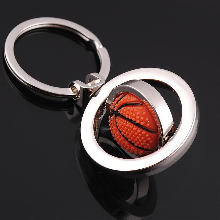 rotational basketball key chain round key ring keychain bag charms metal key cover sport style boy bag pendant(China)