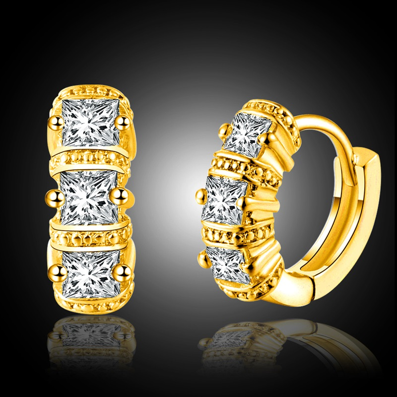 OMHXZJ Wholesale Personality Fashion OL Woman Girl Wedding White Gold Square Zircon 18KT Gold White Gold Hoop Earrings YE454 in Earrings from Jewelry Accessories