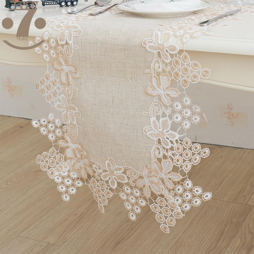 Free Shipping Home Decorative Embroidered Two-Tone Grape Pattern Border Linens Table Runner