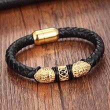 Ouro couro genuíno pulseiras de aço inoxidável para as mulheres pulseiras & bangles na moda masculino jóias charme pulseira de couro
