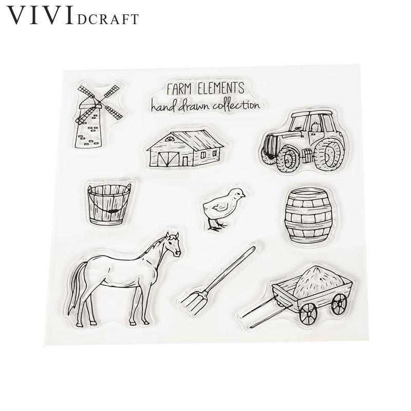 Farm Tractor and House Transparent Clear Stamp DIY Silicone Seals Scrapbooking/Card Making/Photo Album Farm Seal Stamp LQK6685