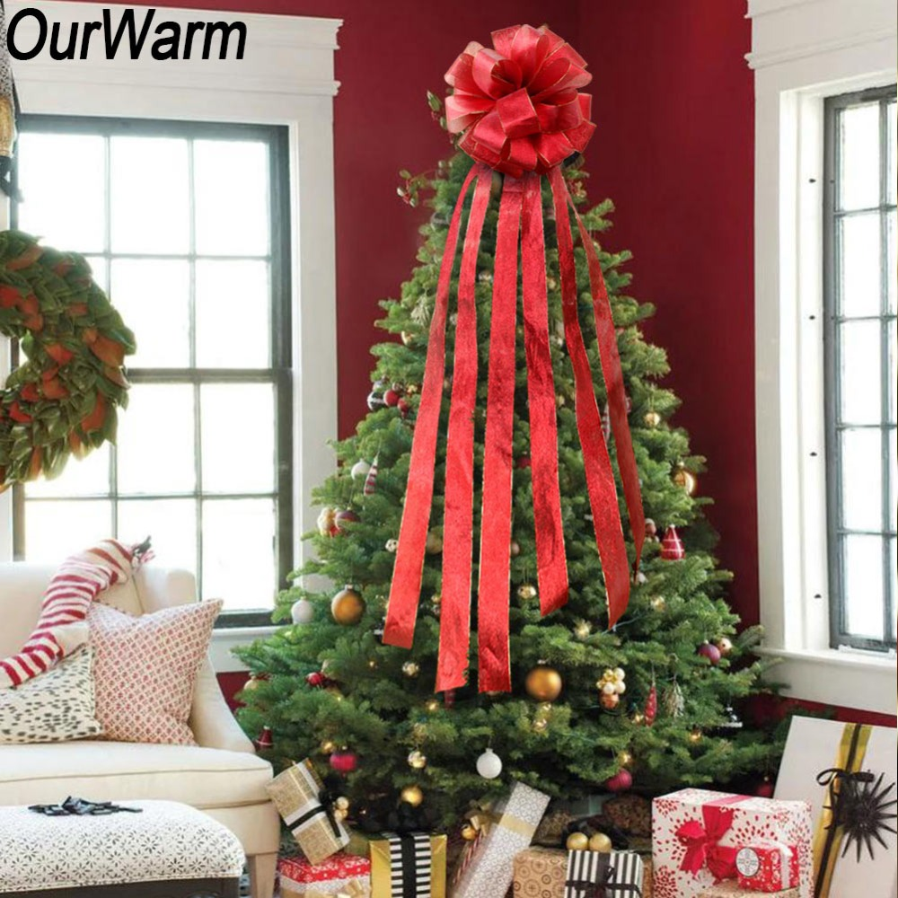 ourwarm diy large new years bows on the tree decorative christmas bow bowknot gift bows christmas tree ribbon ornament in christmas bows from home garden