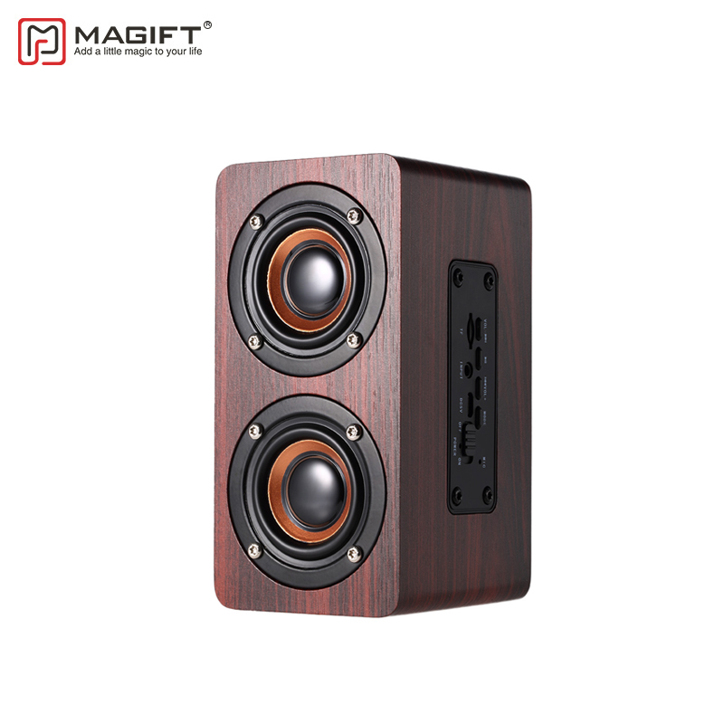Magift Portable Wood Bluetooth Speaker Stereo Dual Loudspeaker Subwoofer Box Wooden Bass AUX 3.5mm Computer Speaker for Xiaomi