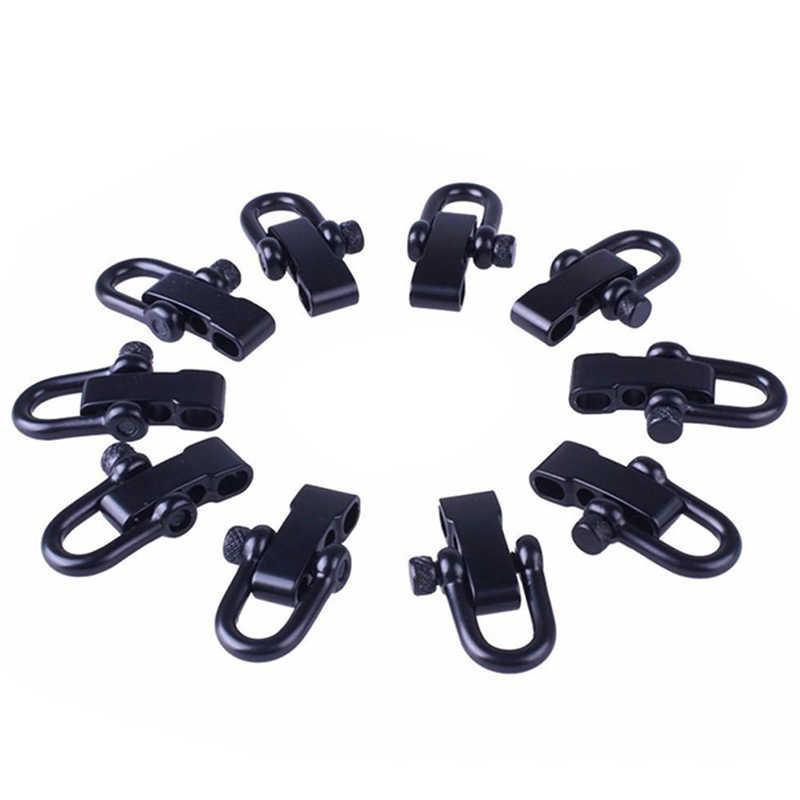 10x U สไตล์สังกะสีอัลลอยด์แบบปรับได้สำหรับสร้อยข้อมือ Paracord เชือกสีดำ