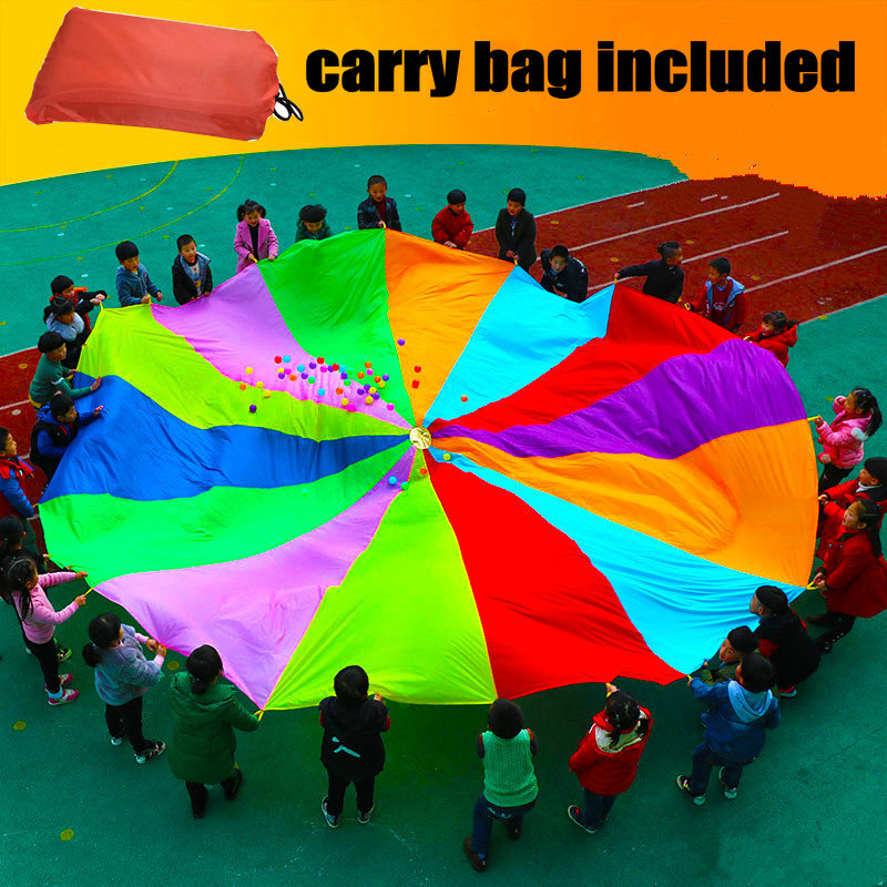 Kids Play Parachute Canopy with 16 Handles (12Feet/3.6Meters) Indoor Outdoor Games and Exercise Toy, Promote Teamwork, FitnessKids Play Parachute Canopy with 16 Handles (12Feet/3.6Meters) Indoor Outdoor Games and Exercise Toy, Promote Teamwork, Fitness