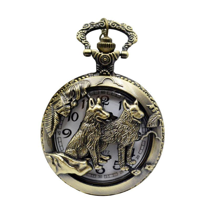 Practical Bronze Wolf Quartz Pocket Watch Necklace Pendant Women Men's Gifts Wolf