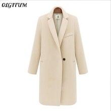 2019 Thicken Long Plus Size Women Coat JacketWomen's Winter Jackets and Coats Single Button Elegant Warm Women Woolen Coat