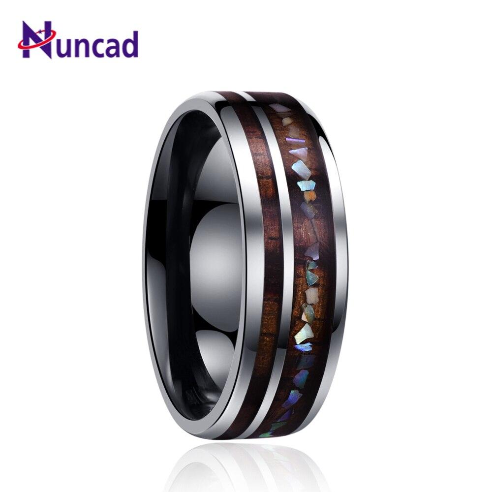 Nuncad classic men rings wide 8mm veneer handmade inlay broken shell tungsten carbide ring for husband's gift dropshippingT098R