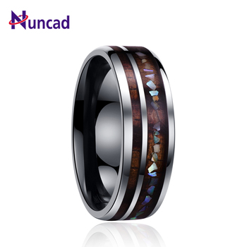 Nuncad classic men rings wide 8mm veneer handmade inlay broken shell tungsten carbide ring for husband's gift dropshippingT098R