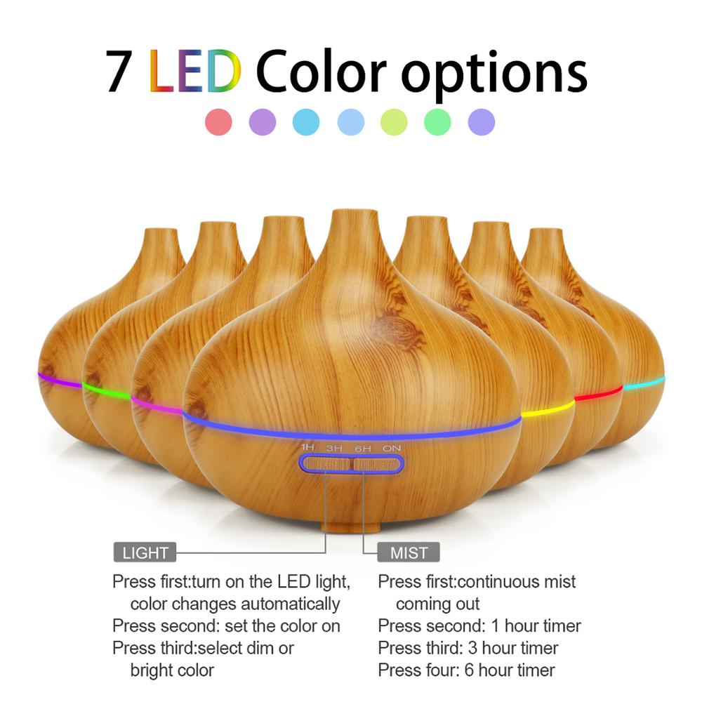 air humidifier Ultrasonic Aroma Essential Oil Diffuser 7 Color Changing LED Lights 300ml Aromatherapy machine with Wood Grain