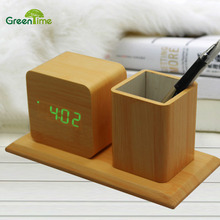 *New Design Pen Holder With Creative Led Wood Alarm Clock Hot Pen Holder Student Digital Mute Clock Wood Mini Led Desk Clock