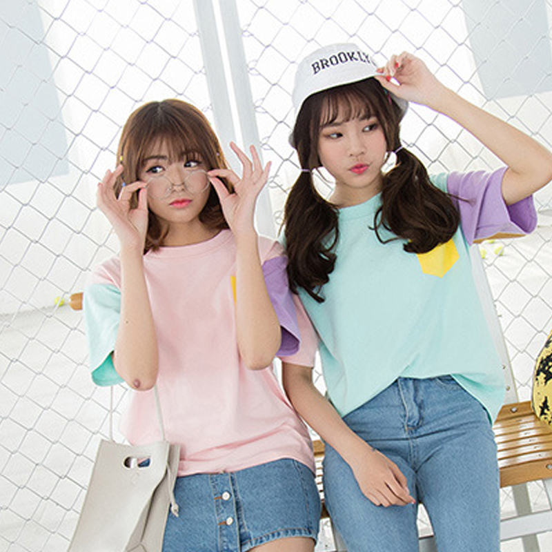 2019 summer Patchwork thin women t shirt short sleeve harajuku kawaii tops cute korean fashion friends Kpop Exo Pockets clothes in T Shirts from Women 39 s Clothing