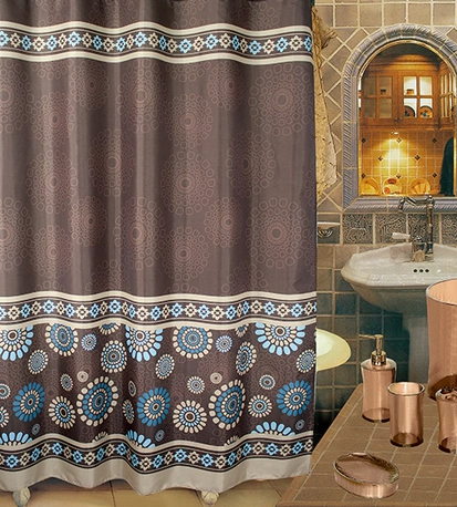 Shower Curtains 240x200cmChinese Style Waterproof Terylene Cloth Curtain Lead Rope Buckle High