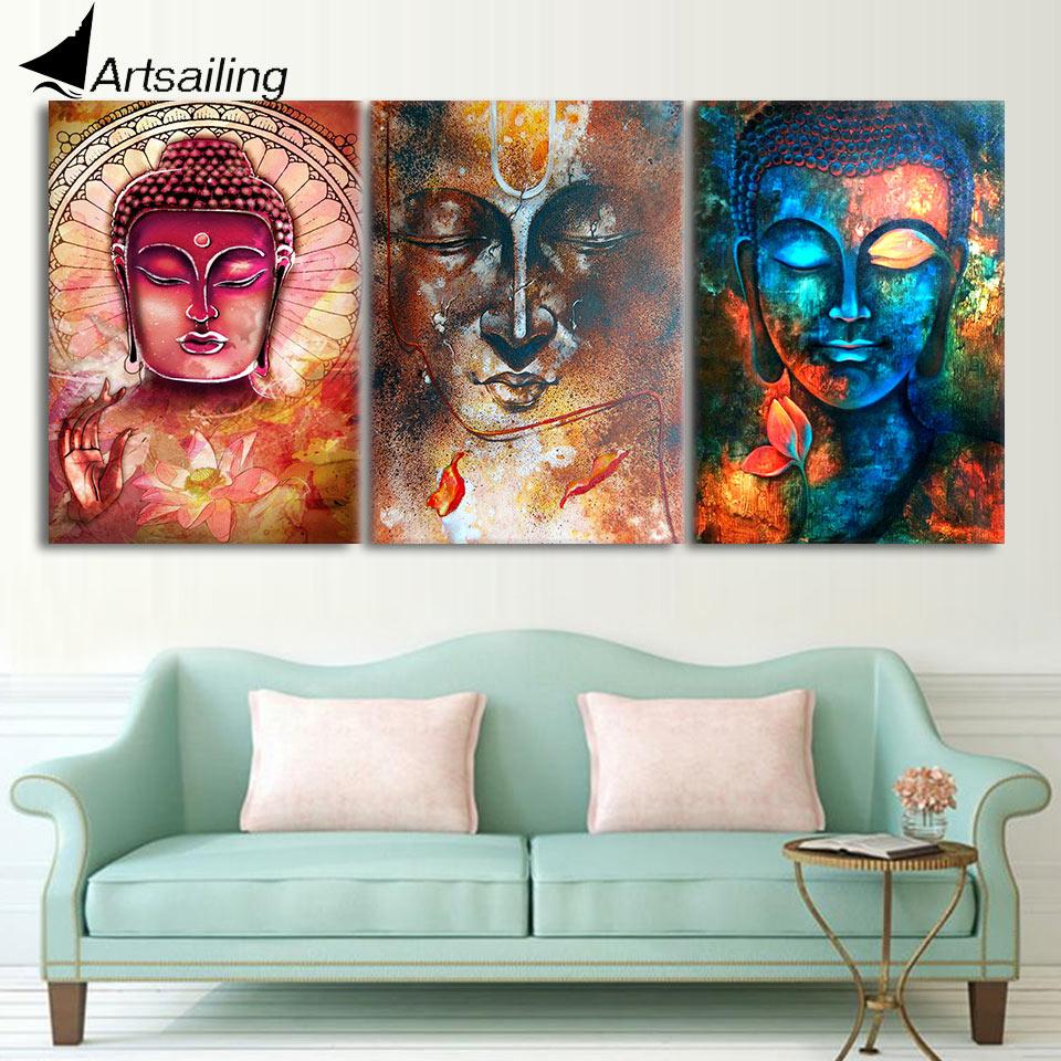 AuBergewohnlich HD Gedruckt Bunte Zen Buddha Wandkunst 3 Stück Leinwand Wohnzimmer  Dekoration Moderne Wandkunst 3 Stücke Freies Verschiffen/NY 6262