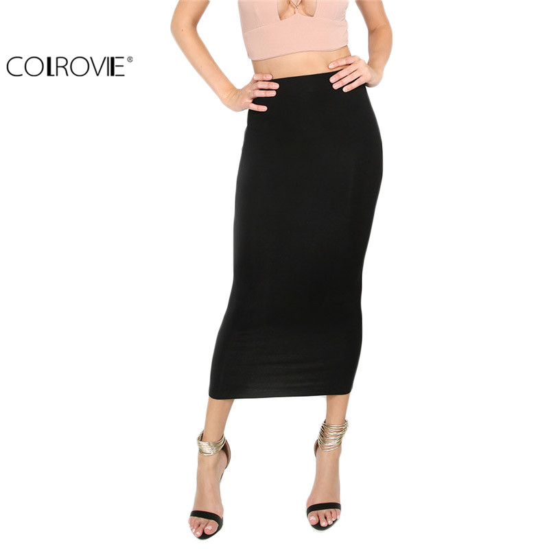 COLROVIE Skirts Womens Formal Womens Black Midi Skirts Work Skirts Korean Sexy Black Basic ...