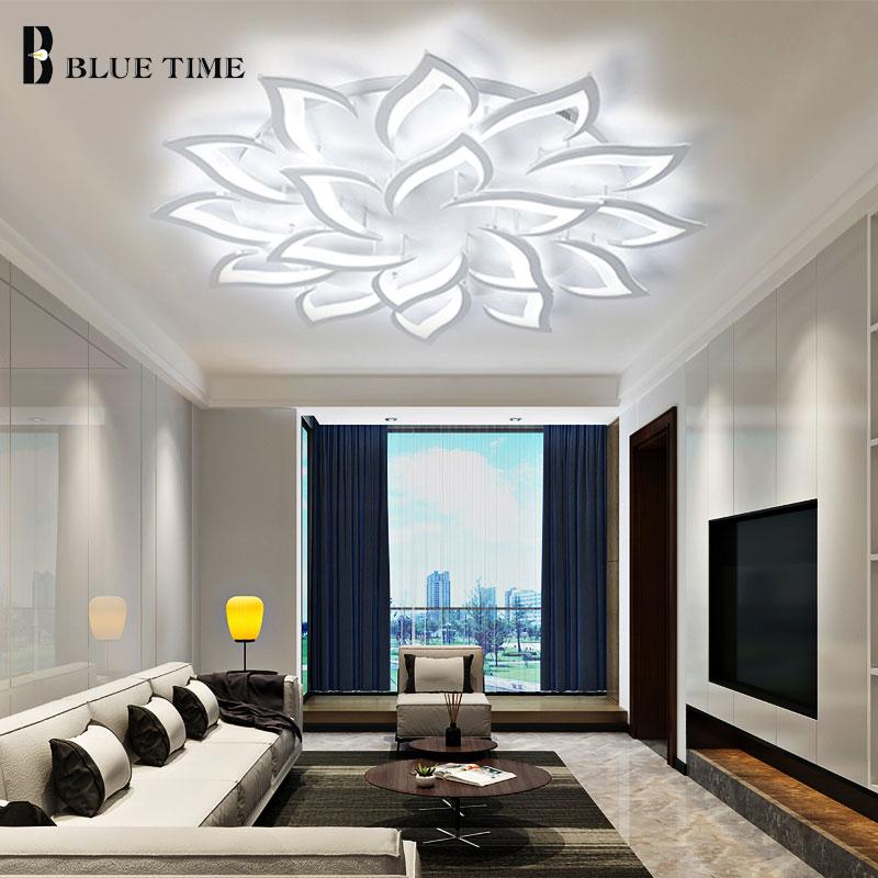 Plafondlamp Moderna Conduziu a Luz de Teto Para sala de estar Quarto sala de Jantar Luminares Fxiture Teto Lâmpada Lustre de Acrílico Branco