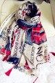 Женщины лондон улица вид печать кисточка шарф великобритании флаг вуаль шалей хиджабах 5 шт. / много