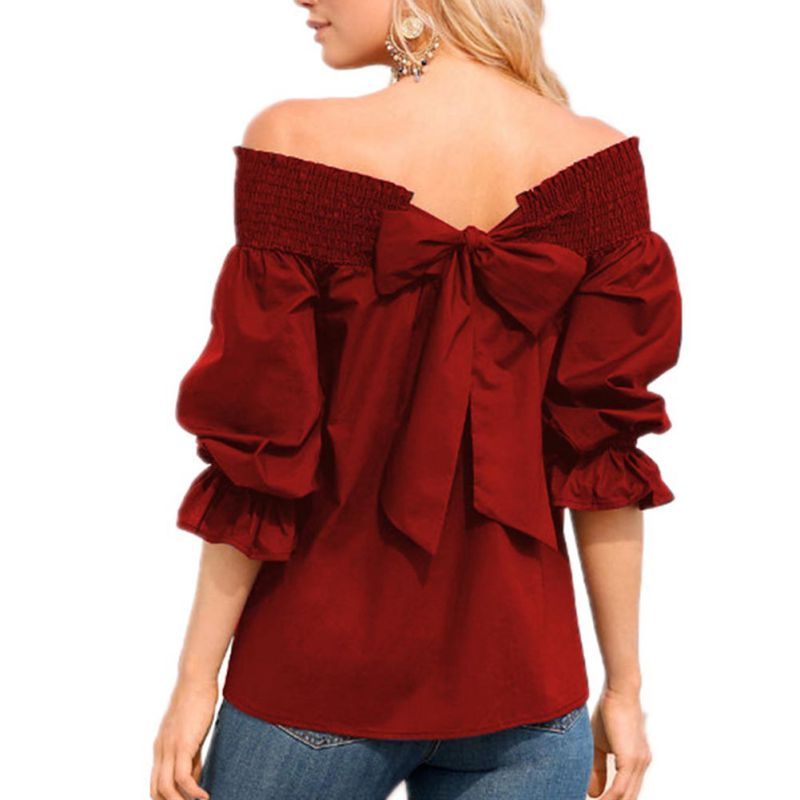 Sexy Off Shoulder Back Bowknot Blouse And Shirts Spring Summer Strapless Women Ruffle Sleeve Pleat Tops Casual Loose Blusas in Blouses amp Shirts from Women 39 s Clothing