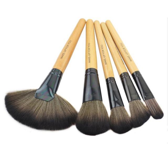 32 unids pinceles de maquillaje profesional de madera del cepillo Kit determinado del cosmético funda negro