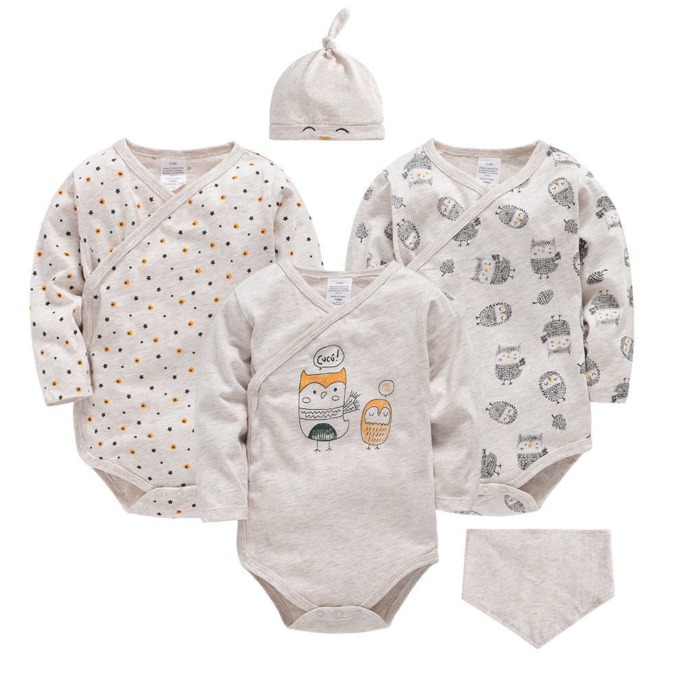 Cute Cartoon Dark Sheep Long Sleeve Organic Cotton Baby Onesie Bodysuit Set for Toddler