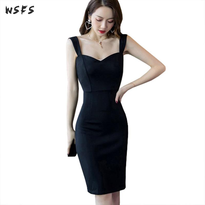 <font><b>Summer</b></font> Women <font><b>Dress</b></font> Spaghetti Strap <font><b>Black</b></font> <font><b>Dresses</b></font> <font><b>2019</b></font> Elegant Backless <font><b>Bodycon</b></font> Bandage <font><b>Sexy</b></font> Party Ladies Midi Pencil Wrap <font><b>Dress</b></font> image